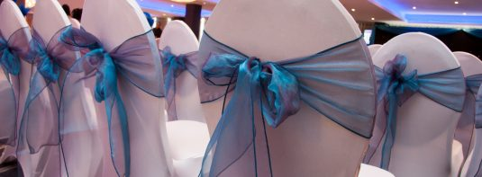 Weddings - blue sash chair decor - IBIS Forum Venue Stevenage
