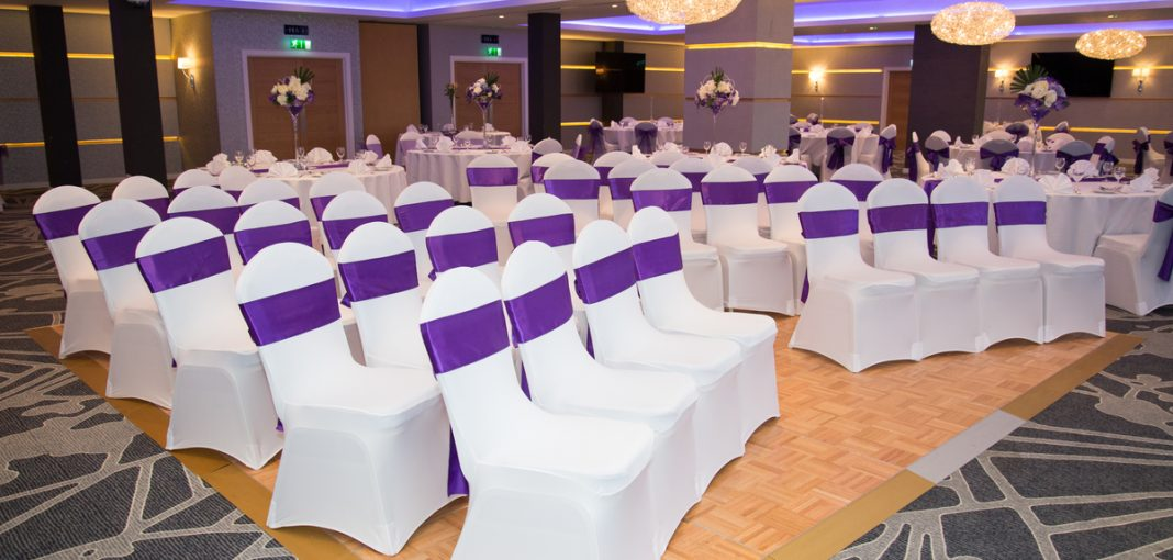 Wedding Venue - seating purple sashes - IBIS Forum Venue Stevenage