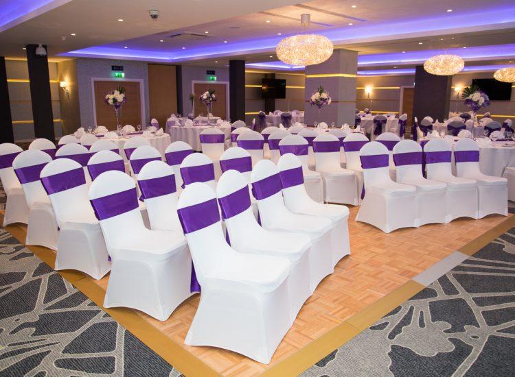 Wedding Venue - seating purple sashes - IBIS Forum Venue Stevenage