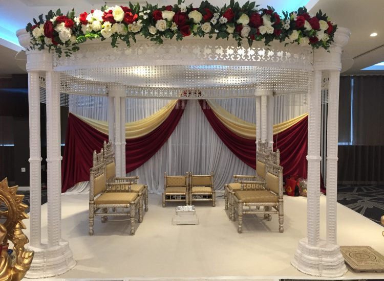 Asian Weddings - White Red and Gold Stage - IBIS Forum Venue Stevenage