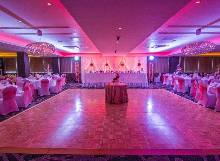 Weddings - Red Lighting Dancefloor - IBIS Forum Venue Stevenage