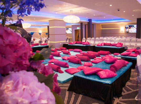 Pink Cushions Wedding Ceremony Decor - IBIS Forum Venue Stevenage